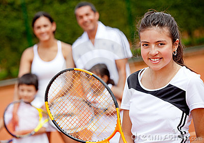 Tennis player with her family