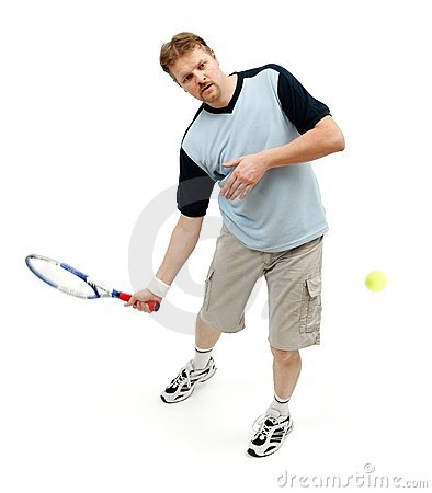 Tennis player hitting incoming ball