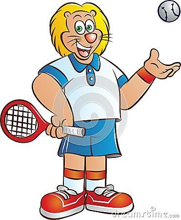 Tennis player lion mascot