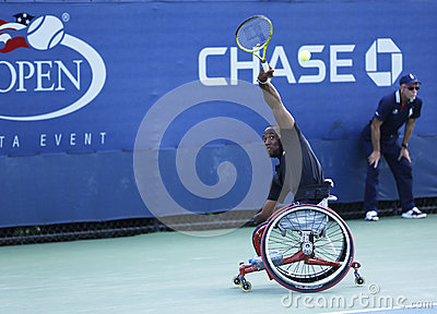 Tennis player Lucas Sithole from South Africa during US Open 2013 wheelchair quad singles match Editorial Stock Photo