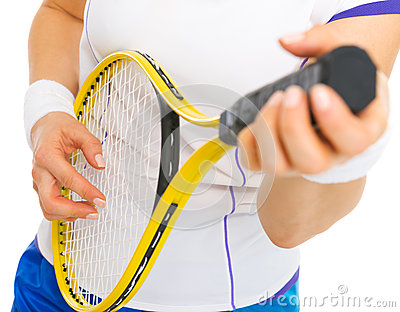 Tennis player playing on racket as on guitar