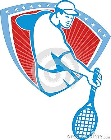Tennis Player Racquet Shield Retro