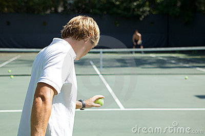 Tennis Player Ready to Serve Ball