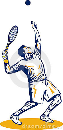 Tennis player serving ball