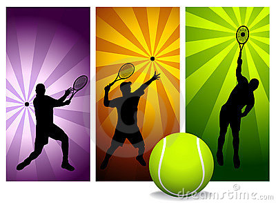 Tennis Player Silhouettes - Vector.
