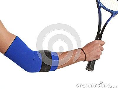 Tennis player wearing an elbow bandage