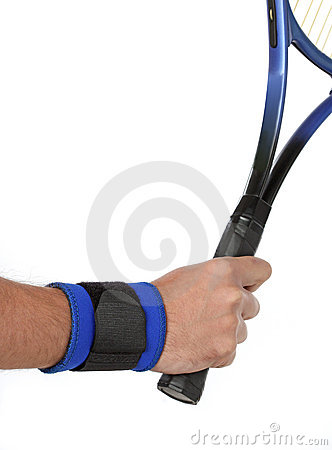 Tennis player wearing a wrist bandage