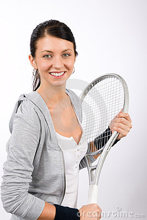 Tennis player woman young smiling hold racket