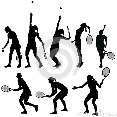 Free Tennis Players Silhouettes Stock Images - 67470244
