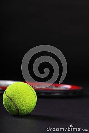 Free Tennis Racket And Balls On Black Background Stock Photos - 23618383