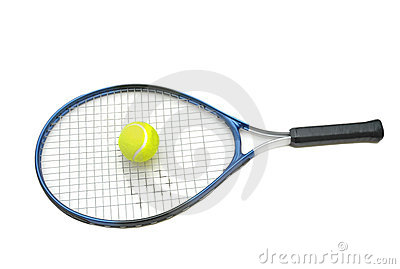 Tennis racket and ball isolate