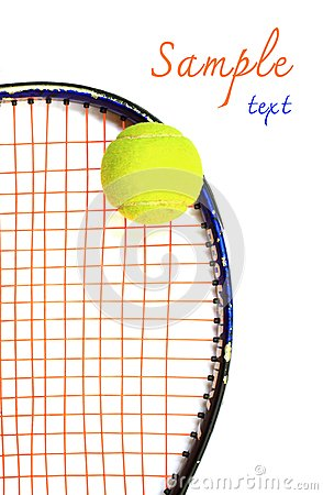 Tennis racket and ball, on white background