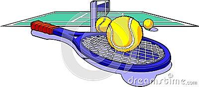 Tennis racket balls and court
