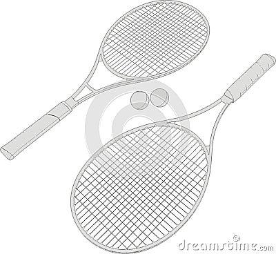 Tennis Racket Balls Silhouettes Vector