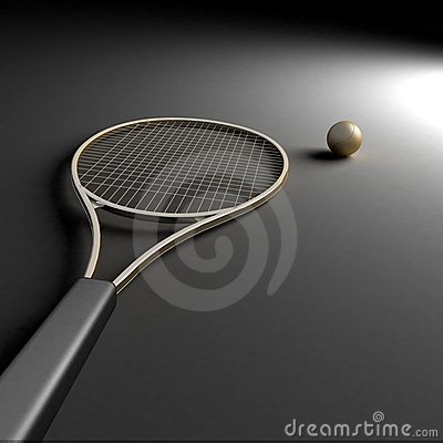 Tennis racket with golden ball