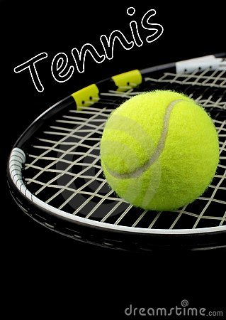 Tennis racket, tennis ball and text