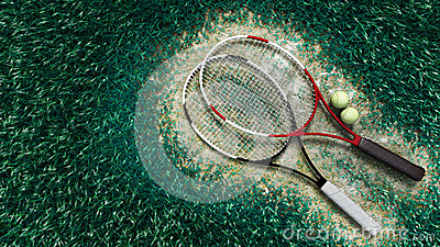 Tennis racquet and tennis balls on the tennis cour