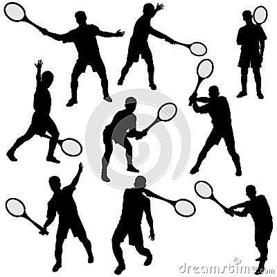 Tennis silhouette set