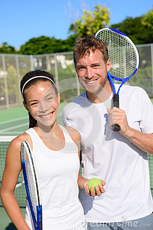 Free Tennis Sport - Mixed Doubles Couple Players Royalty Free Stock Photo - 51518125