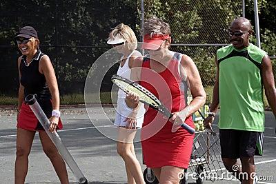 Tennis team walking