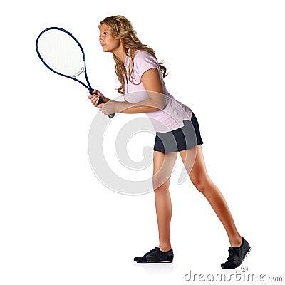 Tennis woman awaiting serve