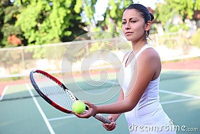 Tennis Woman Ready to Serve
