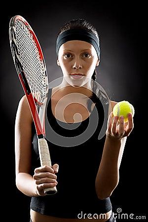 Tennis woman sport hold racket ball black