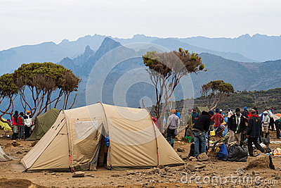 Tent camp on mountain Editorial Stock Image