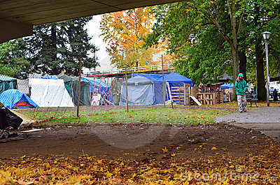 Tent camp at Occupy Eugene Editorial Stock Photo