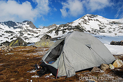 Tent camping in mountains romania