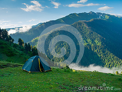 Tent in the hikers camp
