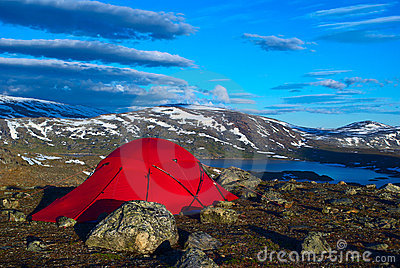 Tent at a Lake in Scandinavia