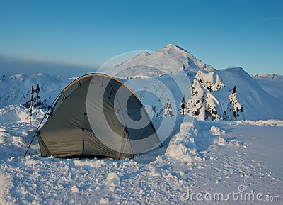 Tent and Mt. Baker