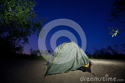 Tent near trees