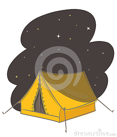 Tent at night vector