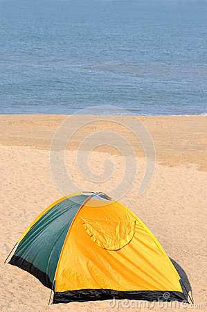 Tent on sand with exclusive meaning