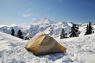Tent set in mt baker national park