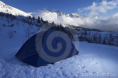 Tent in Snowy Mountains