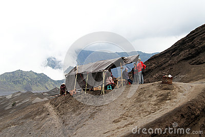 Tent on volcano Editorial Stock Image