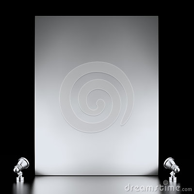 Tentoonstellingstribune en lampen
