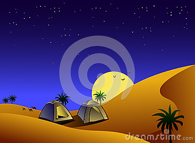 Tents in desert at night
