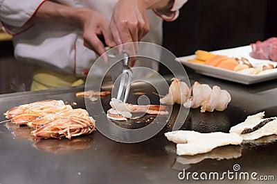Teppanyaki japanese cuisine sauteed seafood