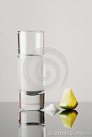 Tequila, lemon and salt