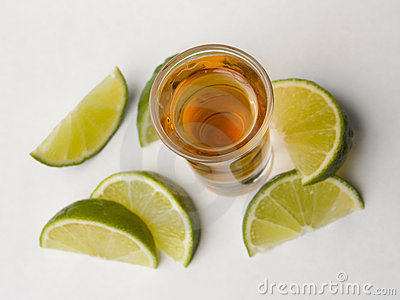 Tequila with limes