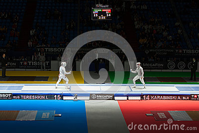 Tereshkin and Karabinski compete  on championship of world in fencing Editorial Photo