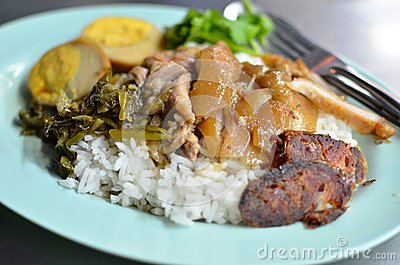 Teriyaki pork with rice , Asian style food