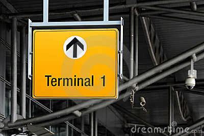 terminal sign on airport hall