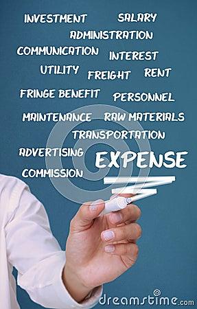 Termini di spesa di scrittura dell uomo d affari con un indicatore