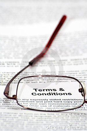 Terms and condition words focused thought glas