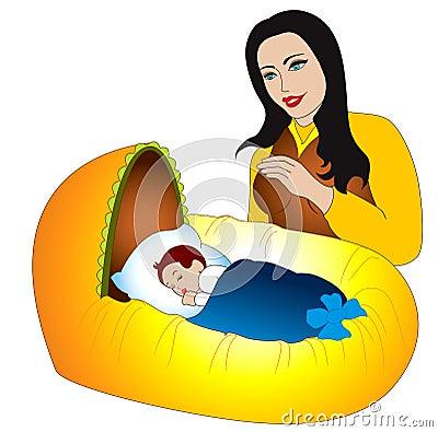 Ternura materna para o bebê novo carregado
